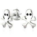 Stainless Steel Pirate Skull Crossbones Stud Earrings (pair)